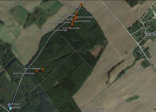 GPS eingemessen Nordgruppe mit Sühnestein und Hügelgrab
